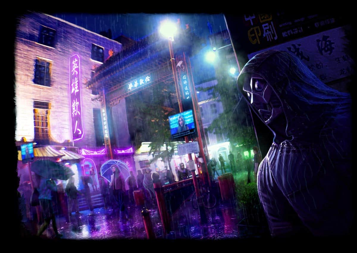 Talos Futuristic China Town Concept Painting at night in rain